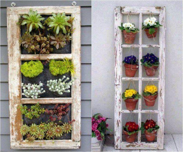 idées-déco-jardin-cadres-vieilles-fenêtres-jardin-vertical-rustique idées déco jardin
