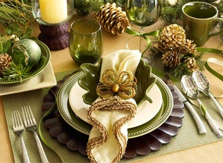 Love how the everyday dishes are dressed up with ribbon.  Love the napkin; love the pine cones and interest in the bowls.  Ribbon, too!  Nice and simple.