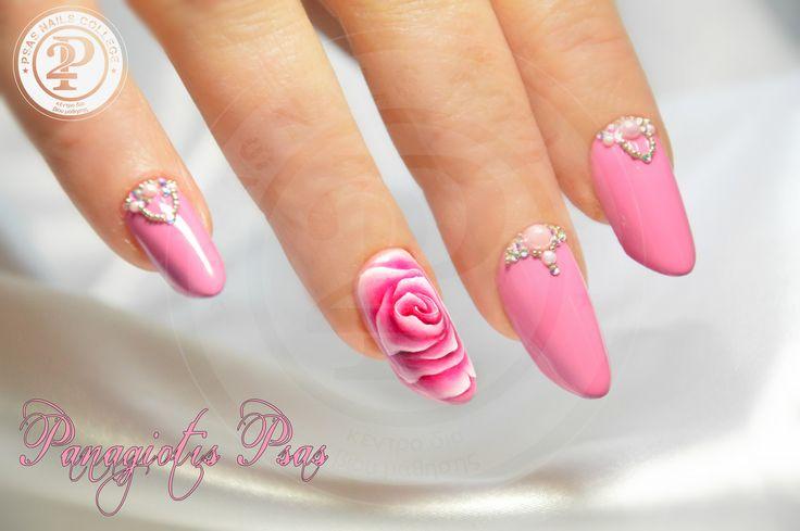 Gel painting roses! #nailart #gel painting #roses #gel art roses