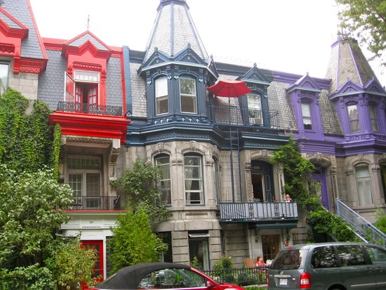 A street of colourful houses, Montreal, Canada.