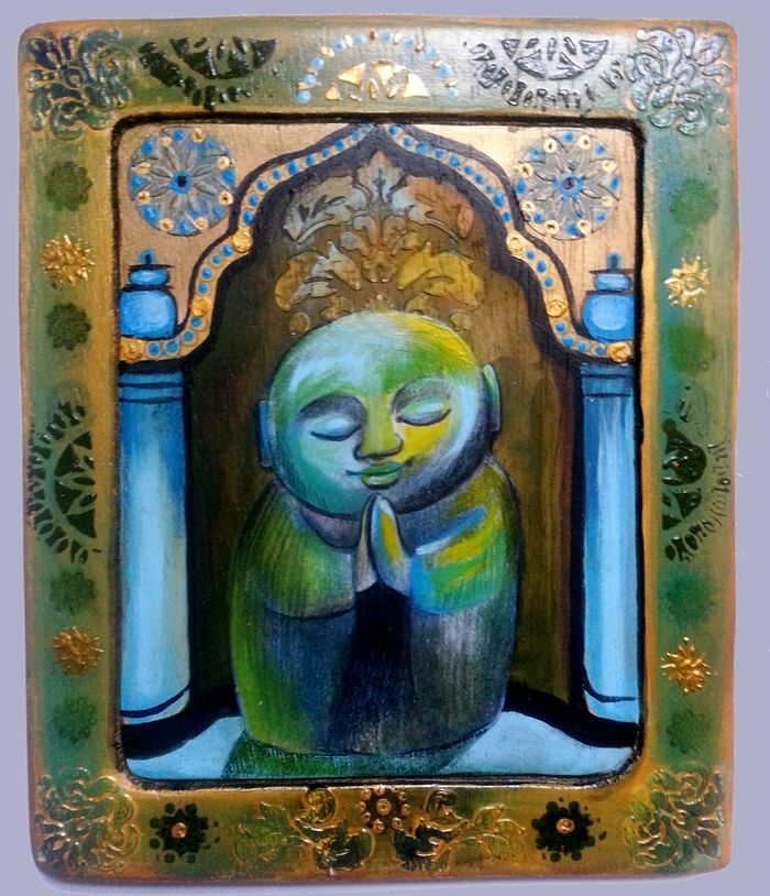 "Karina Fulara,"" Blaue Buddha"" Mixed Media auf Holz, 2015"