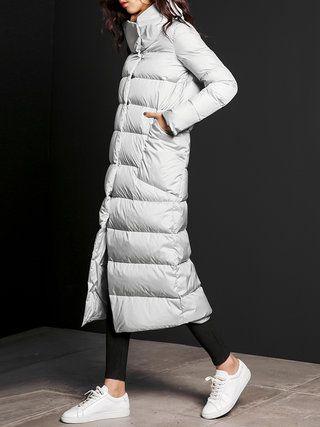 Light Gray Pockets Shift Plain Long Sleeve Down Coat