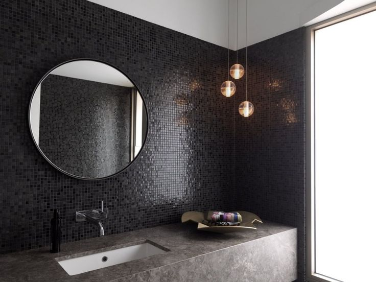 Black tiled bathroom with round mirror - Dressing Room Design For Bathroom By Luigi Rosselli Architects Picture-Interior Design