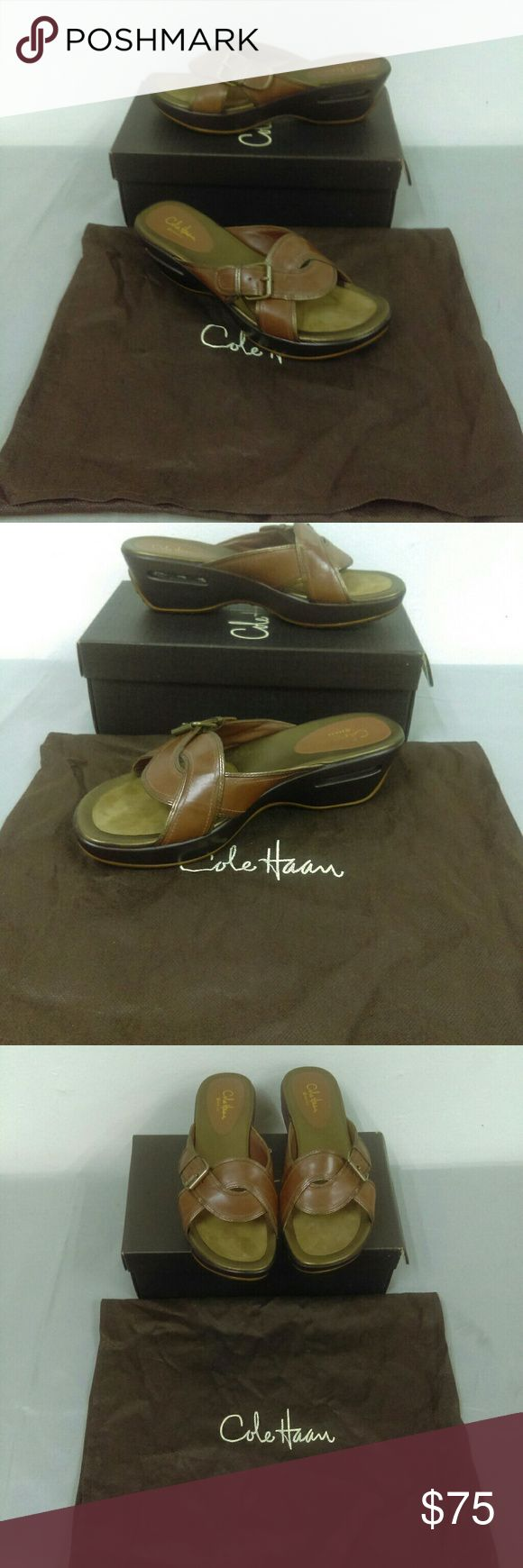 "NIB Cole Haan Air Darby Slide Sz. 9 New and never worn. Box has slight damage to top but no damage to shoes at all. Has Nike Air technology. In dark Amber. 2 1/2"" heel. Cole Haan Shoes"