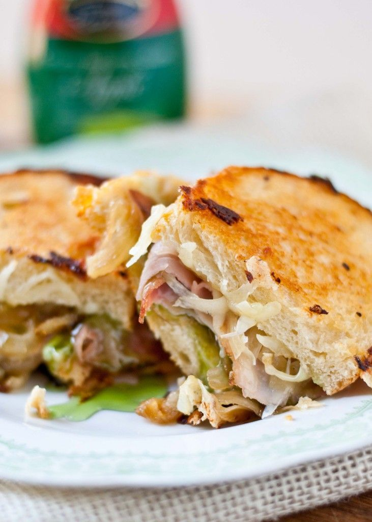 Gruyere, Ham, and Caramelized Onion Grilled Cheese with Apple Balsamic ...