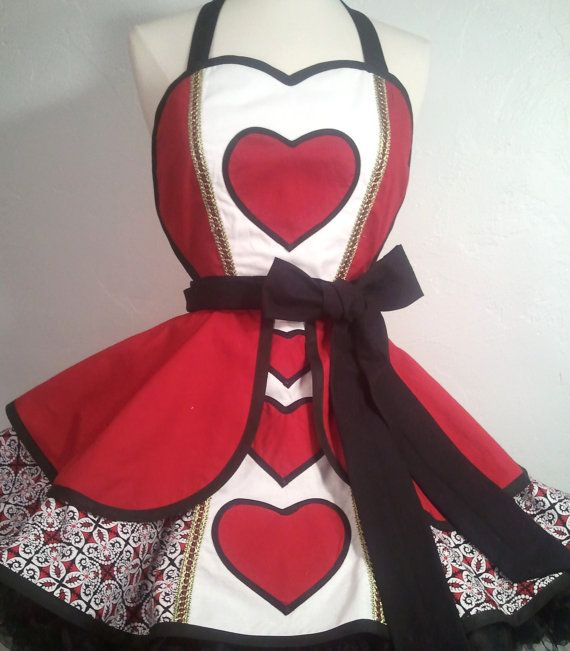 Queen Of Hearts Pin Up Costume Apron by SassyFrasCollection