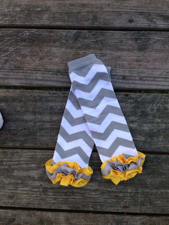 Gray and yellow chevron leg warmer, baby leg warmers, girls leg warmer, infant leg warmer, toddler leg warmer  on Etsy, $8.99