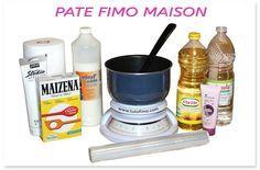 Fimo maison 1 Casserole anti-adhésive 1 Balance de cuisine – ou 1 verre à eau pour doser 1 c à soupe de d'Huile végétale - Tournesol par exemple 1 c à soupe de Vinaigre blanc – ou du Jus de citron 200 gr de Colle vinylique - chez Cultura et dans les magasins de bricolage 140gr de Farine de maïs MAIZENA – Une boîte pleine contient 400gr 1 Cuillère en plastique – pour mélanger pendant la cuisson Peinture acrylique blanche - ou de la gouache Film alimentaire Crème pour les mains Papier…