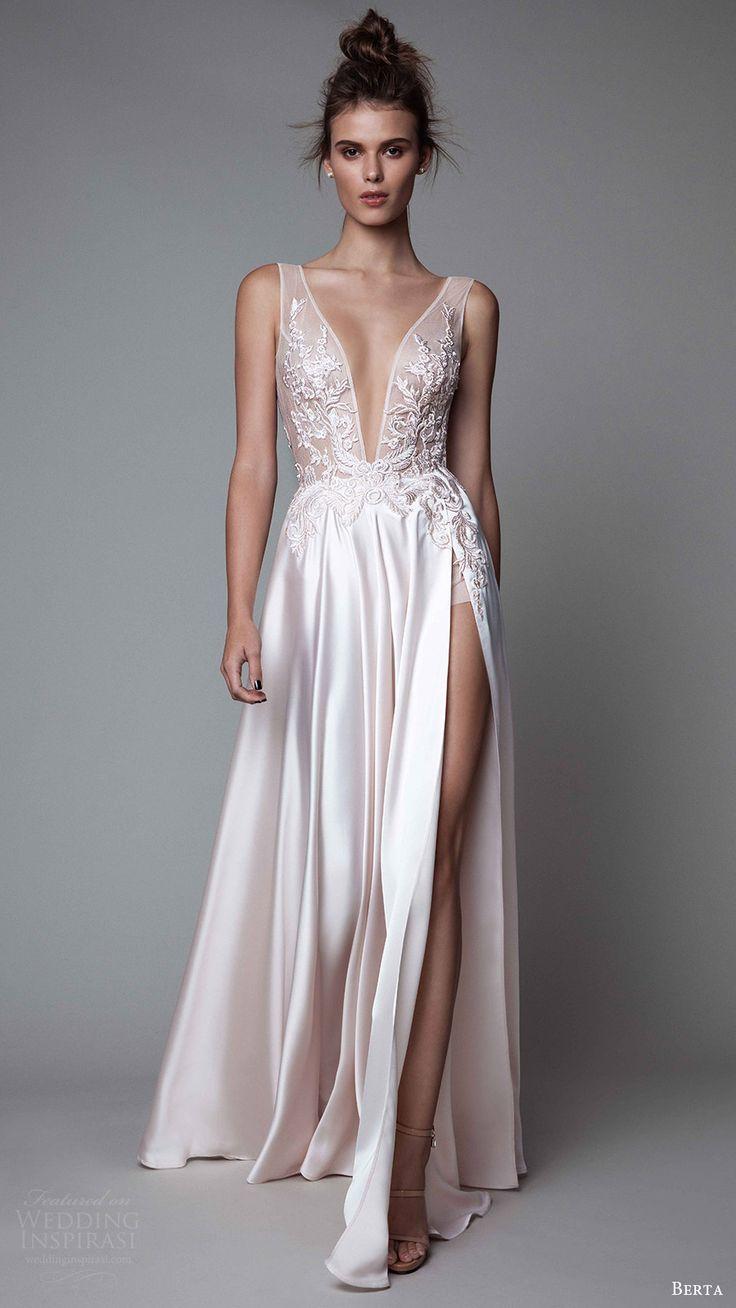 berta rtw fall 2017 (17 26) sleeveless deep vneck a line off white evening wedding dress embroidered bodice mv slit skirt - Dresses - http://amzn.to/2hZGwJq