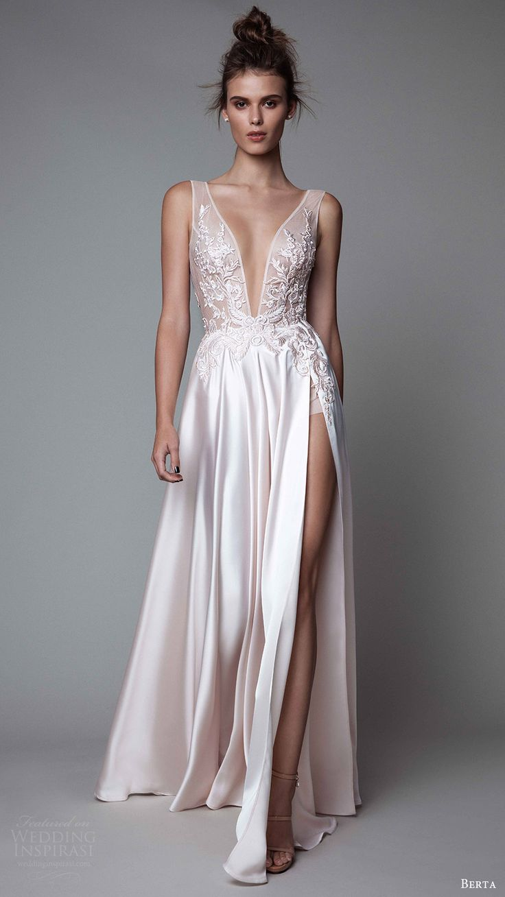 berta rtw fall 2017 (17 26) sleeveless deep vneck a line off white evening wedding dress embroidered bodice mv slit skirt