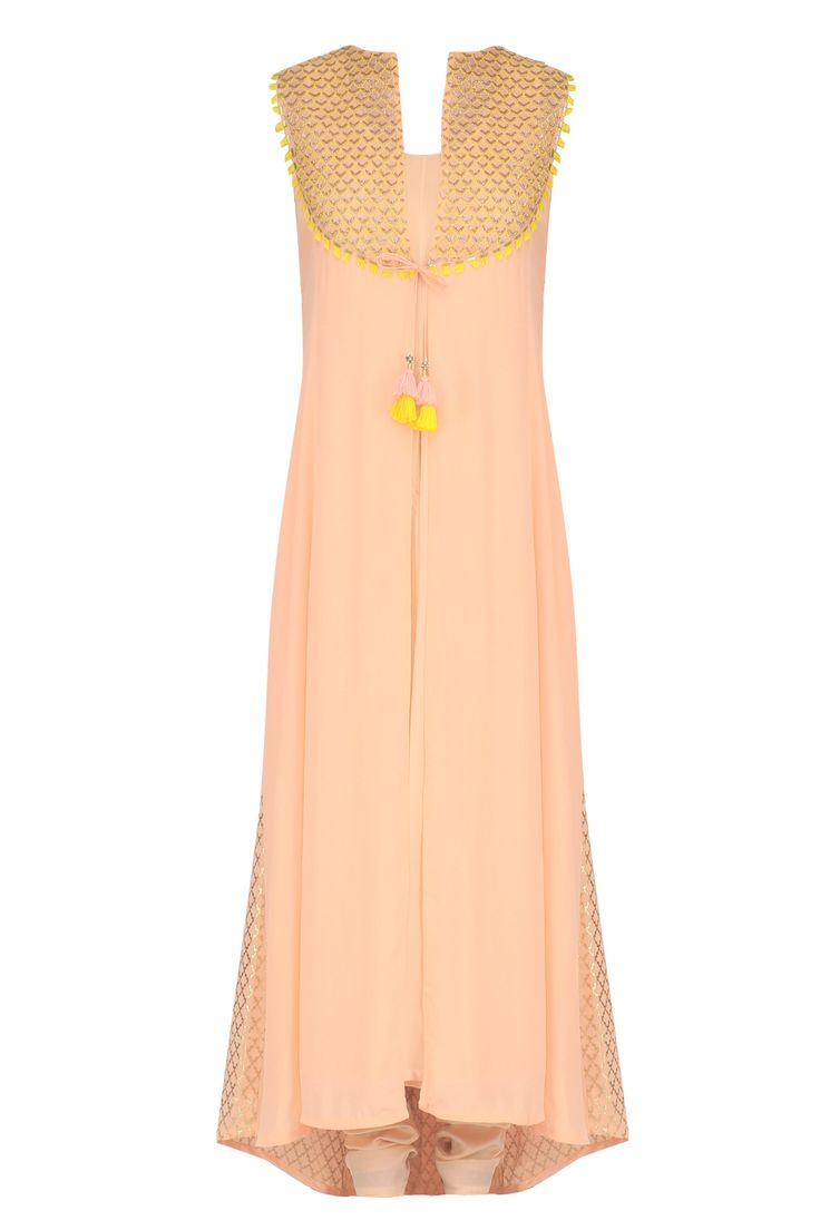 Peach embroidered kurta, inner and churidaar pants set available only at Pernia's Pop Up Shop.