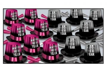 """This assortment for 50 people includes: 25 Hi-gloss Pink and Black printed foil hi-hats , 25 Hi-gloss Silver and Black printed foil hi-hats, 25 9"""" Pink foil horns, 25 9"""" Silver foil horns"""