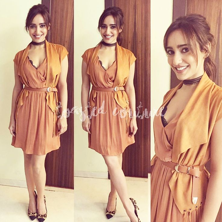 Neha Sharma was spotted at the trailer launch of her upcoming movie Tum Bin 2 in the key color of the season 'Camel'. Going all Tan in an Only India dress. she clinched the look at the waist with a matching Zara belt.