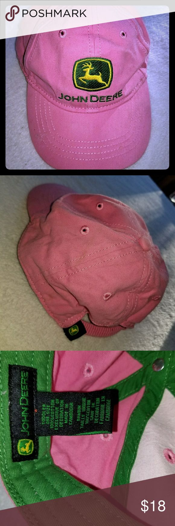 Toddler Girl John Deere Baseball Hat Pink EUC Toddler Girl  John Deere Baseball Hat  Pink EUC  Sizs: Toddler-One Size  Stretchy/Elastic  Ponytail Holder  EUC: No Signs of wear/tear, stains, etc From a Smoke Free & Pet Free Home John Deere Accessories Hats