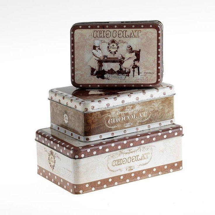 """""""Chocolat"""" metal boxes."""
