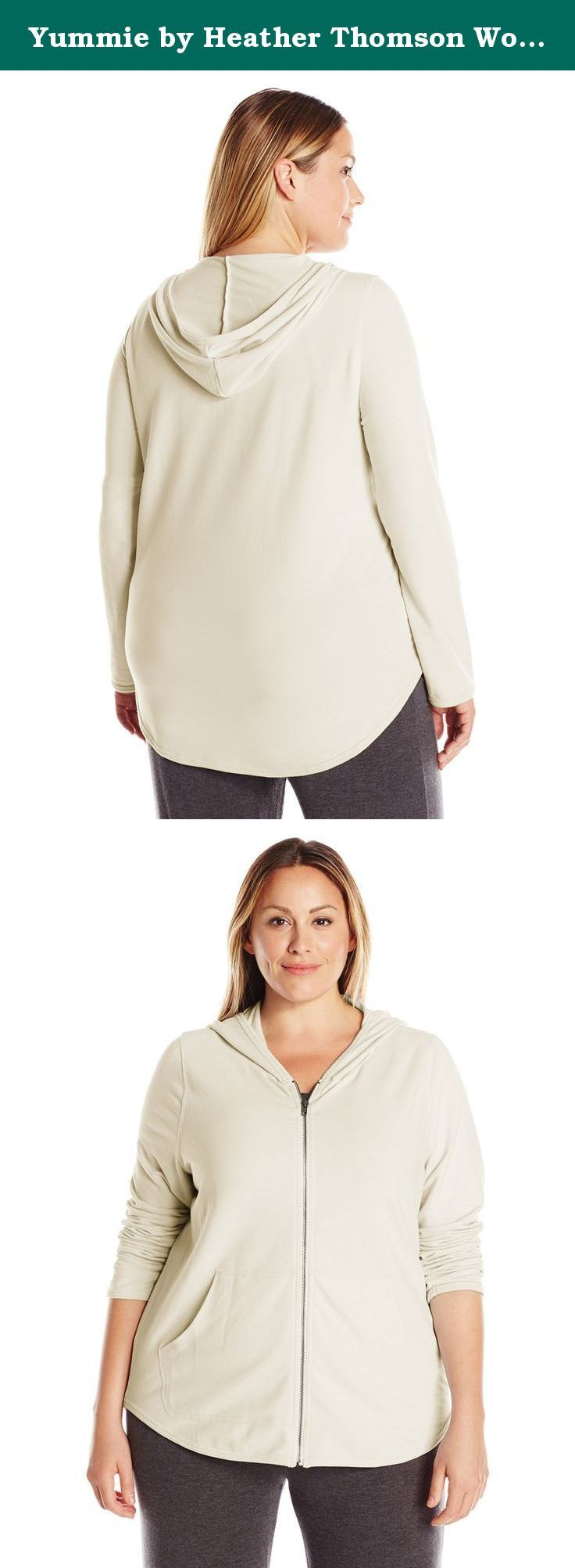 Yummie by Heather Thomson Women's Plus-Size Baby French Terry Zip Up Hoodie, Cream, 1X. Our soft baby French terry zip up hoodie is the perfect combination of style and comfort. Great as a layer or in place of a jacket, the off-duty vibe of this hoodie makes it a great choice for lounging around the house or for pairing with jeans.