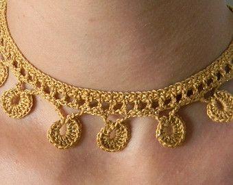 Crochet necklace pattern PDF for Crochet por NailyaPlaskeyDesigns