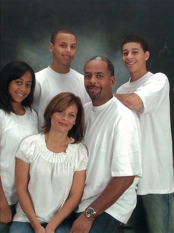 Stephen Curry In His Younger Days With His Family (left to right: Sister, Stephen, Mother, Father & Brother.