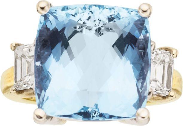 Aquamarine, Diamond, Gold Ring, Martin Flyer.