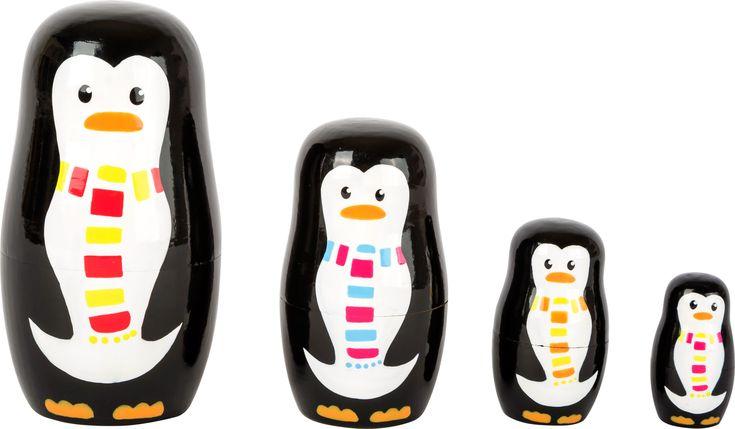 Pinguini in legno . Matriosca.  www.folledicolagiocattoli.it