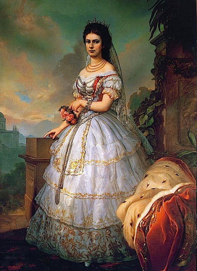 Empress Sisi in a traditional Hungarian gown.
