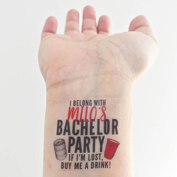 ** Please read instructions before ordering ** Custom Temporary Tattoos perfect for a Bachelor Party! Wear them on your wrists and go get em guys! Youll receive 14 tattoos that say I belong with... and 1 for the groom that says Its MY bachelorette party. Because the groom needs to feel extra special right?! Packaged up super cute with a little sponge, so you can apply on the go! - OR - You can have your tattoos a little bigger and receive 12 tattoos total: 11 for the party, and 1 for the…