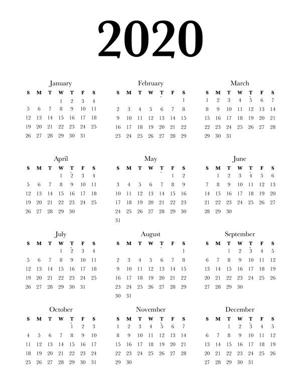 Free 2020 Calendar Printable One Page Lovely Planner Calendar Printables Free Printable Calendar Vintage Calendar