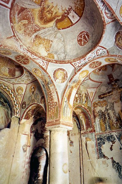 Inside of an ancient church in Turkey- Coptic Church in Cappadocia
