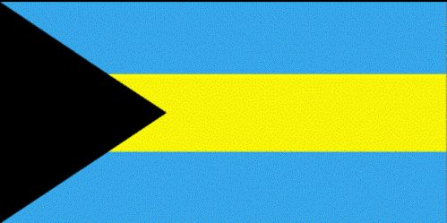 Bahamas Flag Description: Three equal horizontal bands of aquamarine (top), gold, and aquamarine, with a black equilateral triangle based on the hoist side