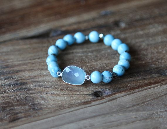 Turquoise howlite and aqua blue chalcedony accent beaded stacking bracelet by Rosehip Jewelry