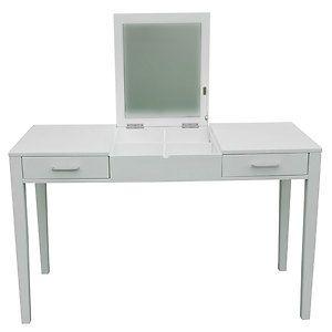 Modern White Dressing Vanity Table Make Up Writing Desk w Flip Mirror Storage | eBay $195
