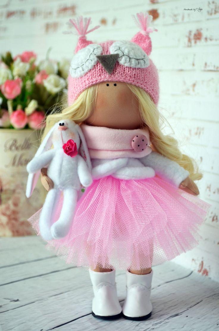 Fabric doll Interior doll Home doll Art doll handmade pink blonde colors Tilda…