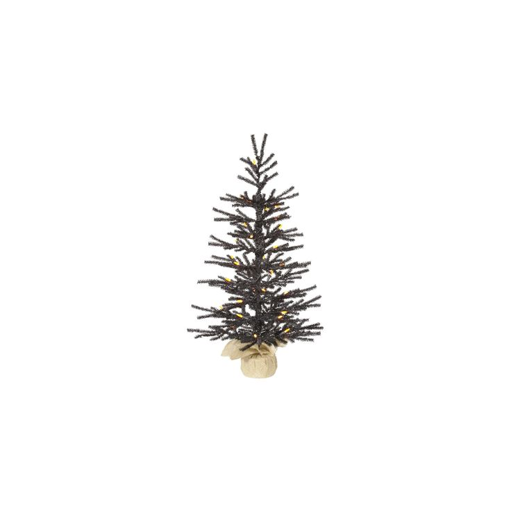 2.5ft Black Pistol Artificial Christmas Tree with Orange Led Lights in Burlap Base