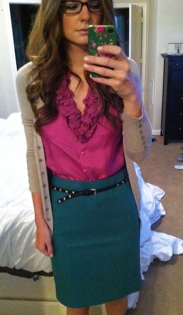 Teal skirt, pink ruffled blouse