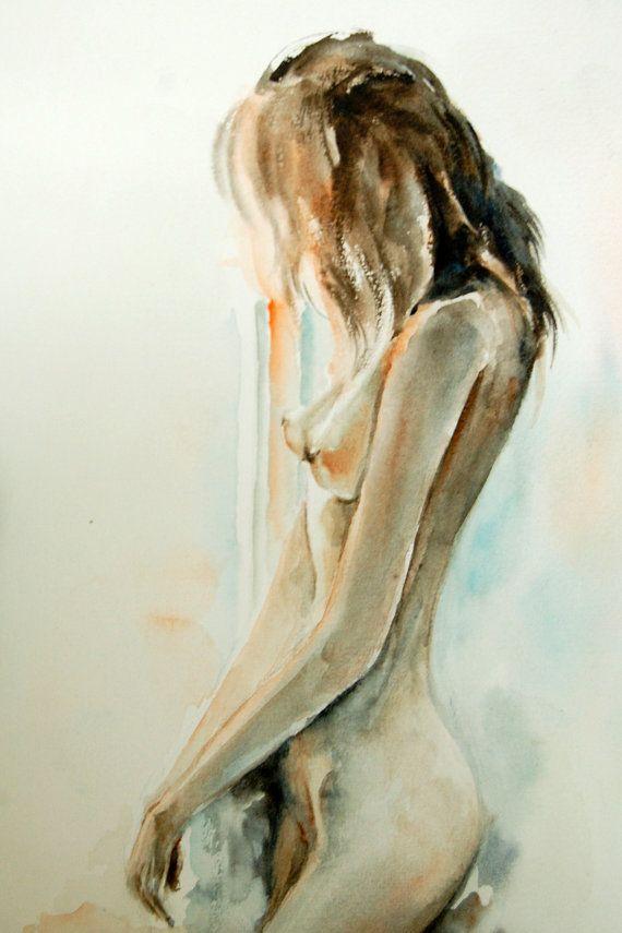 Woman Figure - Watercolor Painting Art Print - Watercolor Art - Nude Art - Figurative #design #etsyretwt