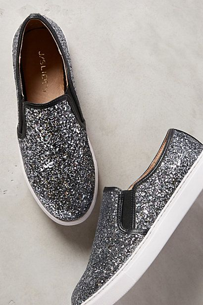 glitzy glitter sneakers in silver #anthrofave