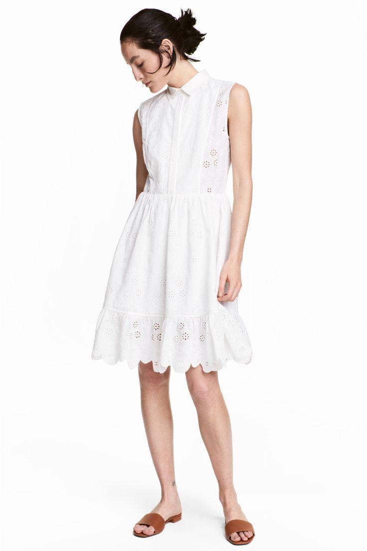 Vestido algodão bordado (branco): H&M (49,99€)