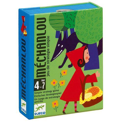Retrouve l'histoire du petit Chaperon rouge à travers ce jeu de cartes Djeco. Tu dois réunir les 6 cartes décrivant les étapes du conte du Petit Chaperon rouge. Il faut donc mettre en place la bonne stratégie. Attention : la carte du Méchant loup rode et elle peut ralentir considérablement ton jeu.