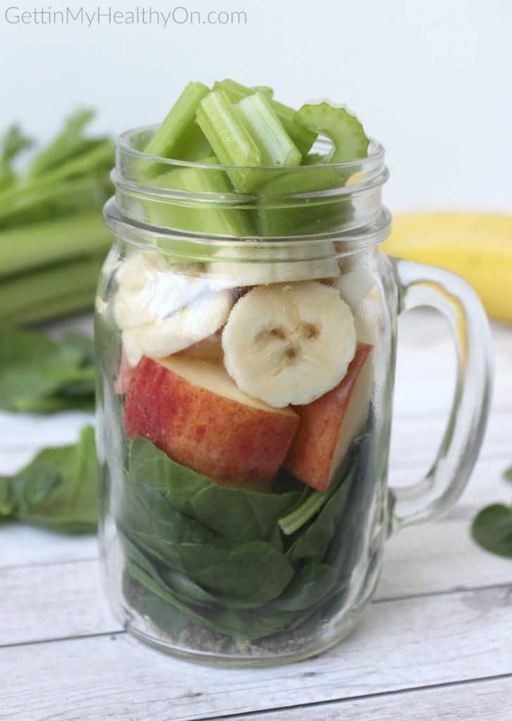 This green smoothie recipe uses apple, banana, spinach, and celery for its distinct, refreshing flavor.