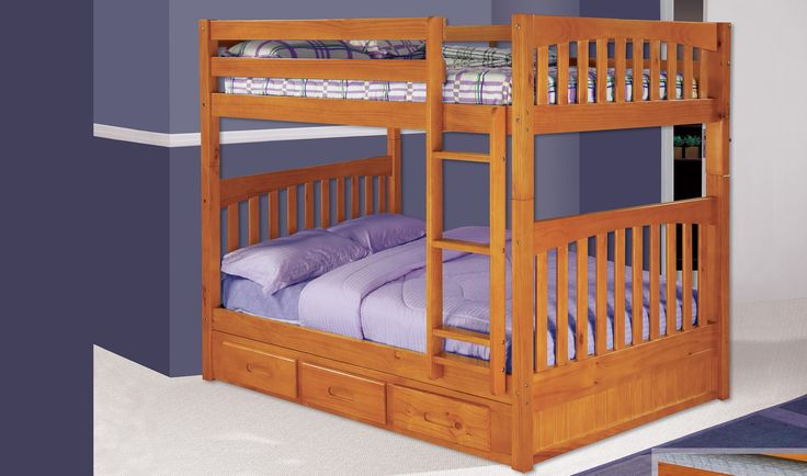 The HONEY Mission Style Full over Full Bunk Bed was designed with the classic vertical supports inspired by the mission craftsmen designs, with its vertical wooden construction it is designed for strength and good looks.