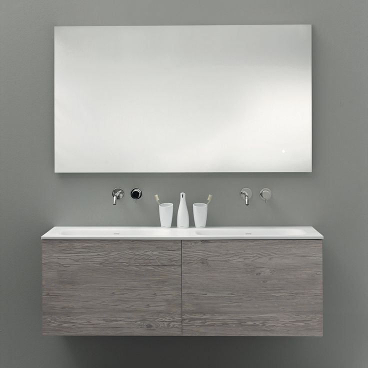 Keeping it streamlined with 51 collection frameless mirror featuring soft LED lighting and wall-mount double vanity with HST finish (possibly one of the most durable, hard surface materials ever...no really, it withstands the 'coin scratch test'!)
