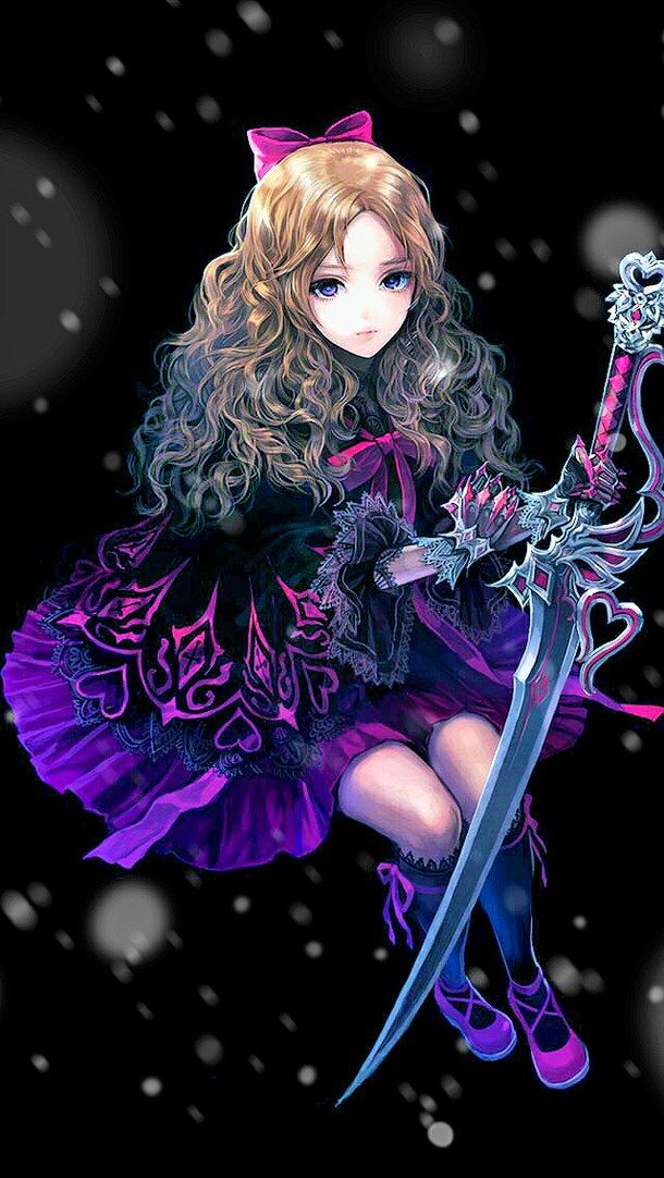 Anime black and red cool curly hair cute dress girl - Red and black anime ...