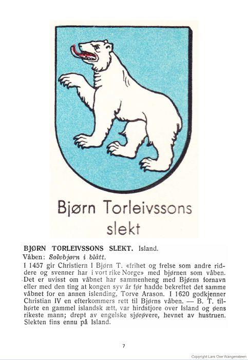 Bjørn Torleivssons slekt