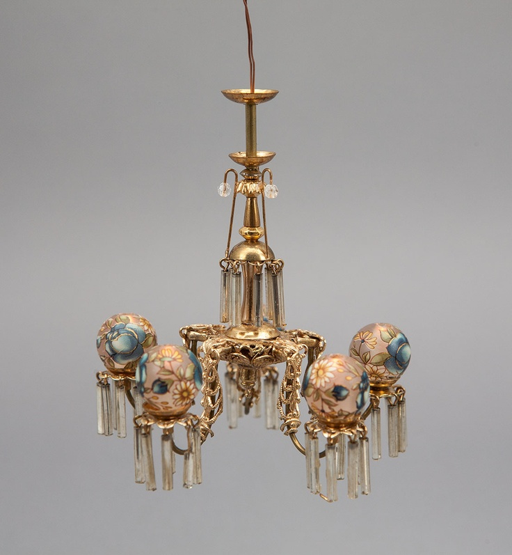 Gorgeous 5 Arm 1:12 Scale Victorian Chandelier With Hand