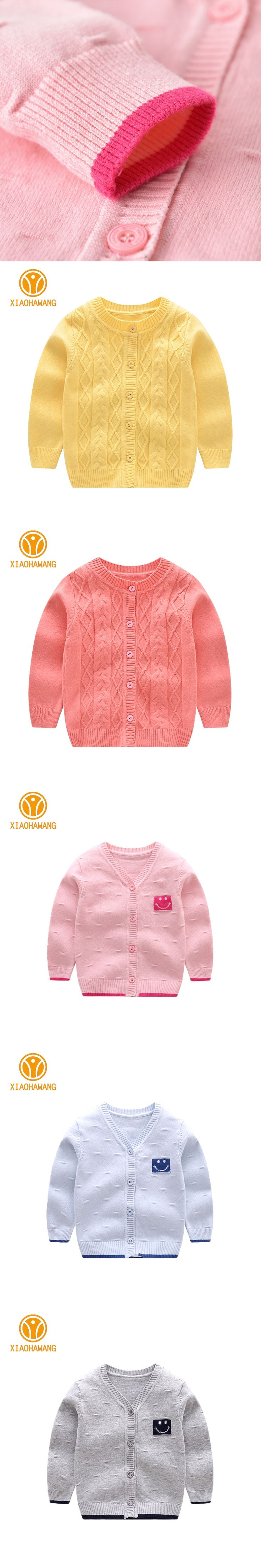 Solid Baby Sweater Long Sleeve Baby Boys Sweaters Knitted Cotton Newborn Coat Smile Girls Cardigan Sweaters
