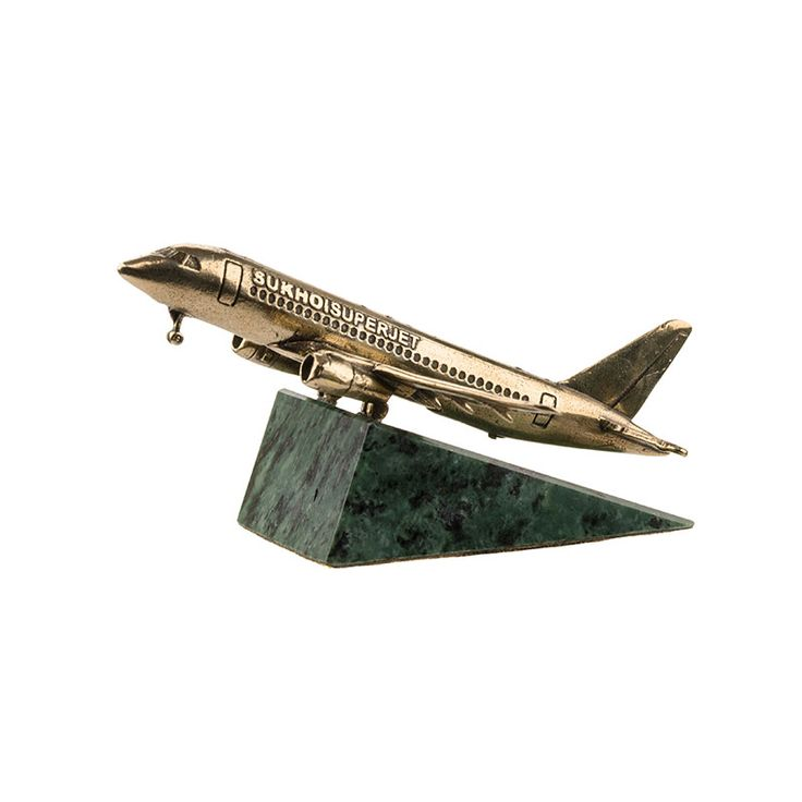 Sukhoi Superjet 100 Aircraft Model - Gift bronze model of the Sukhoi Superjet 100 aircraft developed by the Sukhoi Civil Aircraft corporation.The first flight was made in 2008. The p