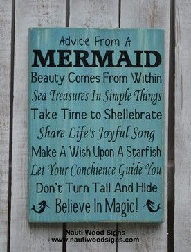 Beach Decor, Advice From A Mermaid Sign, Mermaid Decor, Bathroom, Nautical beach-style-novelty-signs