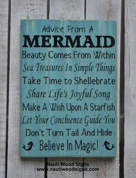 Beach Decor, Advice From A Mermaid Sign, Mermaid Decor, Bathroom, Nautical beach-style-novelty-signs
