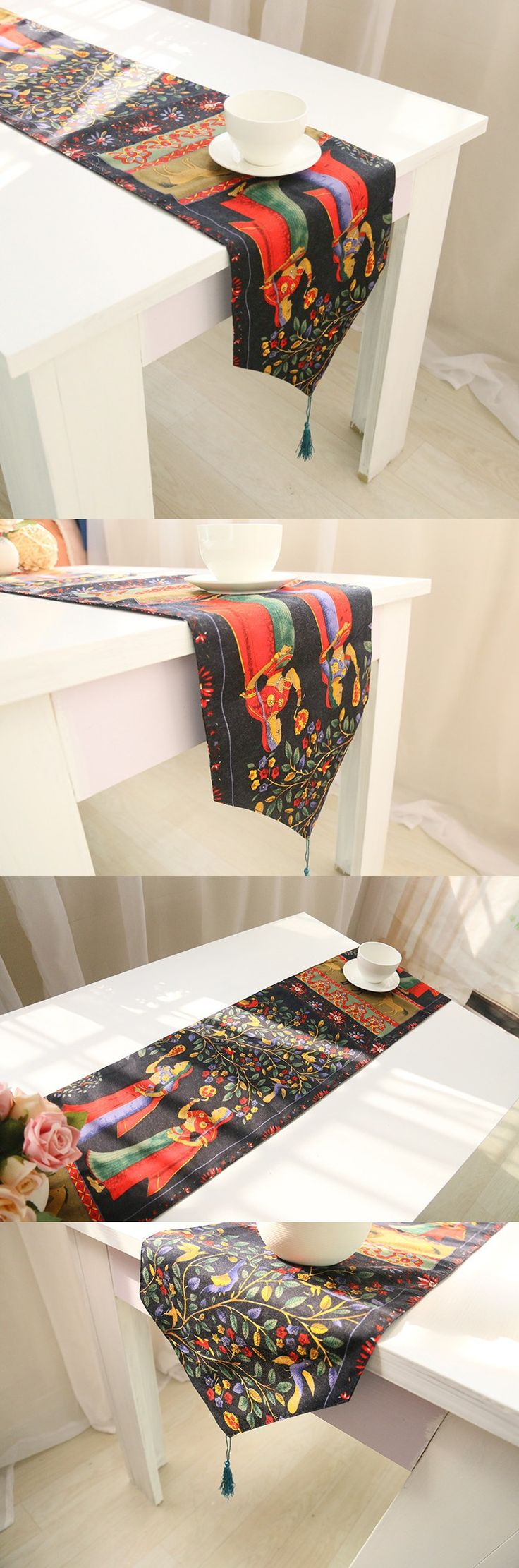 Decoracion Mesa Boda Vintage Ramie Cotton Decorative Handmade Home Asian Table Runners $13.87