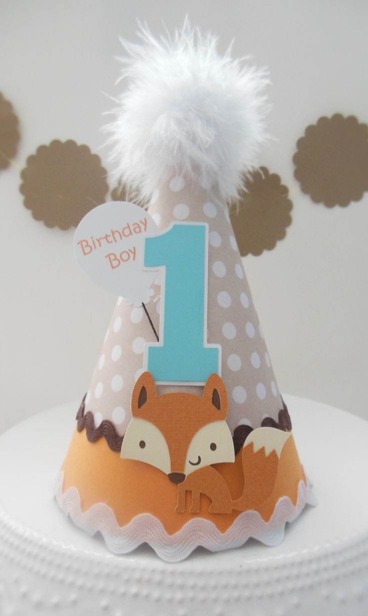 Cute little fox party hat! www.SandysSpecialtyShop.etsy.com Available on Sandy's Specialty Shop on Etsy.com